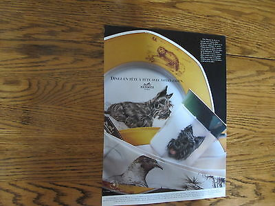 Hermes Animals Dishes Print Ad Clipping 1989