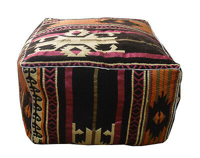 "Handcrafted Egyptian Moroccan Bedouin 20"" Square Ottoman Pouf Footstool #MP09"