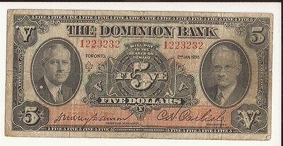 1935 Canada Dominion Bank 5$  Chartered Bank Note Small