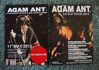Adam Ant  2 Large Flyers - 2013 And 2014