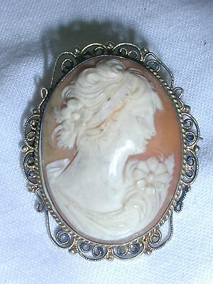 Gorgeous! Hand Carved Gold Washed 800 Silver Antique Cameo Brooch/ Pendant!