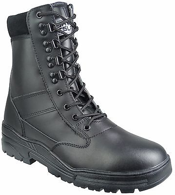 Black Full Leather SIDE ZIP Army Combat Patrol Boots Cadet Military Security