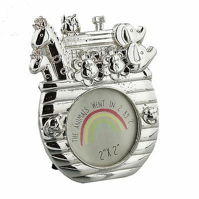 Noah's Ark Boat Shape Silver Plated  Baby Photo Frame