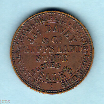 Australia Token.  Davey & Co. 1862 1d.  Sale Vic..  VF/gVF