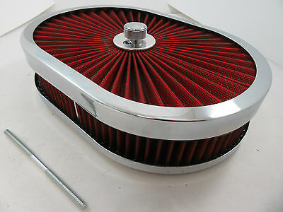 "12"" Oval Chrome Extream Flow Washable 4 Brl Air Cleaner SBC BBC Ford Mopar V8"