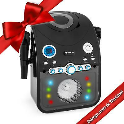 Karaoke Bluetooth USB Reproductor CD Efectos luces LED multicolor 2 microfonos