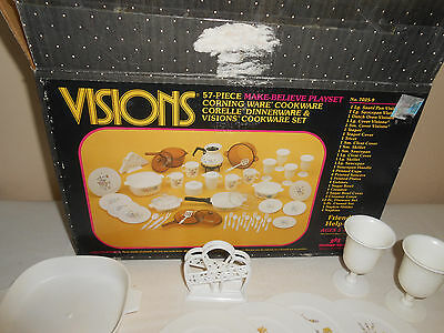 Vintage Visions Cookware Corelle 57 Piece Make Believe Playset Childrens Dishes