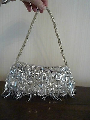 Stunning evening bag - beaded and sequinned detail - silver coloured