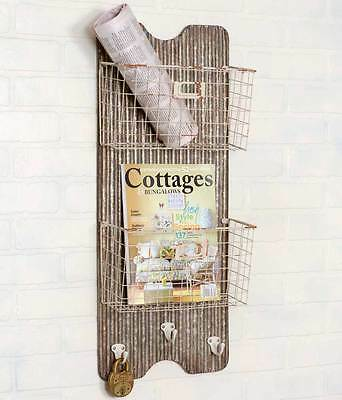 Primitive new galvanized metal and wire wall pocket/nice magazine holder