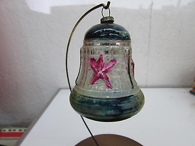 Antique Japanese Embossed Glass Patriotic Bell Christmas Ornament Stars