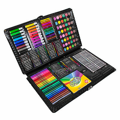 Mega Art Set 250 pc Childrens Drawing Painting Pack Pencil Pastel Large Wallet