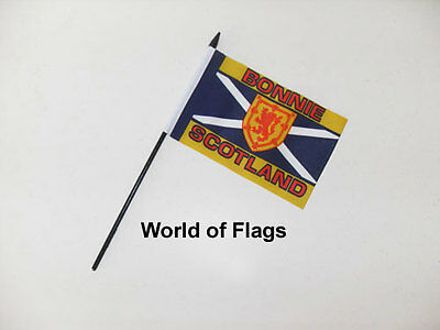 "BONNIE SCOTLAND SMALL HAND WAVING FLAG 6"" x 4"" St Andrews Cross Table Desk Top"