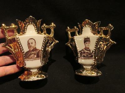 King Edward VII & Queen Alexandra Antique White & Gold Unique Pair of Vases