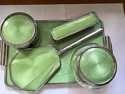 Delightful 5 Piece Vintage Art Deco Silver Plate Guilloche Enamel Dressing Table