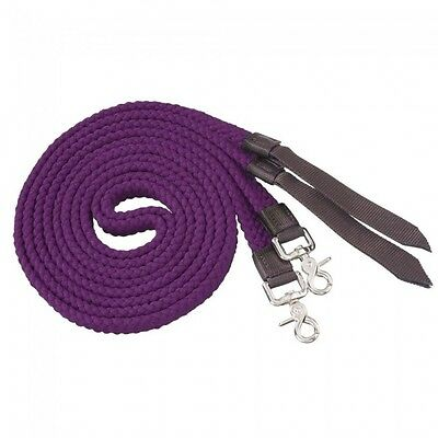 Tough-1 Flat Cotton Split Reins - Purple - 7ft