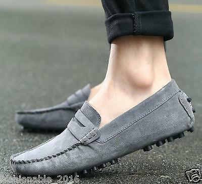 Men's Driving Casual Boat Shoes Suede Leather Shoes Moccasin Slip On Loafers
