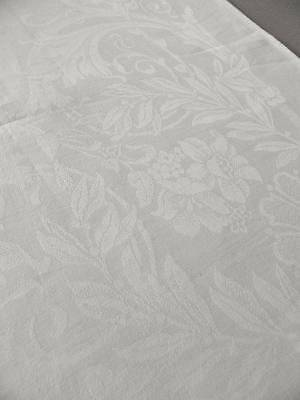 Huge 13ft antique Victorian white Irish linen damask tablecloth - Roses Ribbons