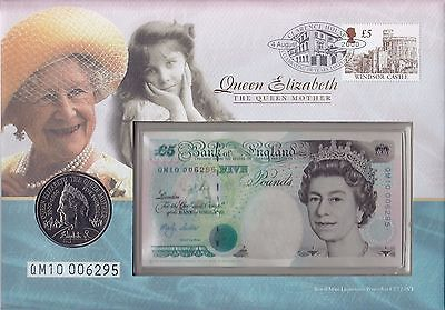 GB Royal Mint PNC: 2000 Queen Mother + GB £5 Coin & £5 Note #QM10006295