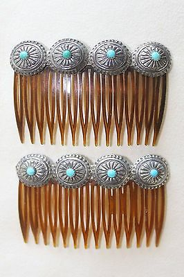 Pair of Fine Vintage Navajo Turquoise Sterling Silver Concho Hair Combs Barrette