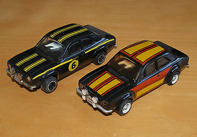 Two Vintage Scalextric Ford Escort RS1600 Cars, No. C052, Good Condition.