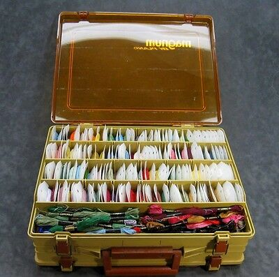 Embroidery Floss LOT of 217 Cards & Skeins in Magnum Tackle Box ~ DMC Variety