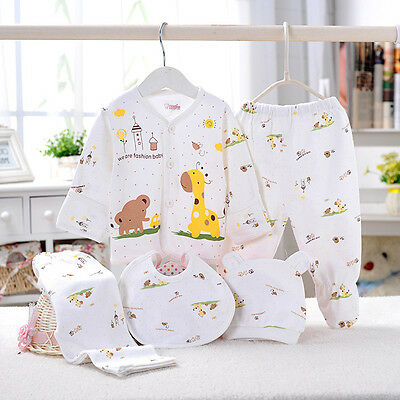 5 Pcs Newborn Baby Clothes Sets 0-3 Month Boy Girls Sleepwear Outfits Yellow
