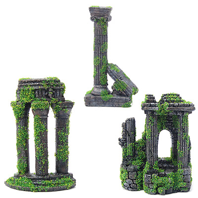 Moss Covered Roman Ruin Aquarium Fish Tank Ornament Decorations / Features
