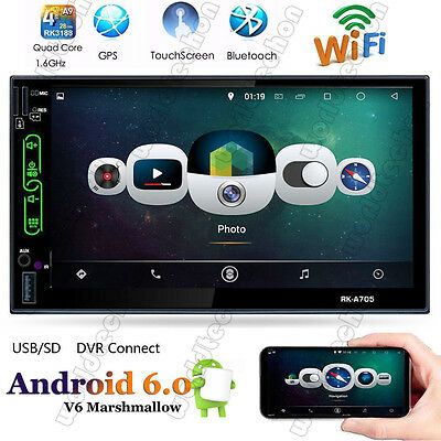 Car Audio Video Radio Player Android 6.0 WiFi BT GPS Navigation Double 2Din 7''
