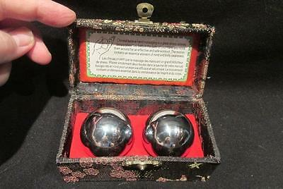 Chinese Hand Massage Balls Pair of Silver Musical in Black Silk Padded Case