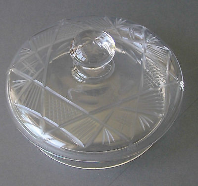 Antique Cut Glass LID,10cm diam. inner rim,perfect,+handle.Is your bowl lidless?