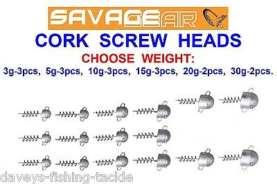 Savage Gear Cork Screw Heads For Soft Bait Real Eels Herring Cannibal 4Play Shad