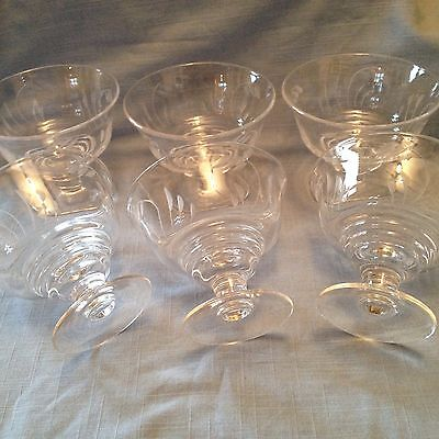Set of 6 beautiful etched glass sundae dishes