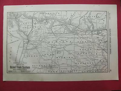 1920 Grand Trunk Railway System Map (Western Section) Depot Location 97 Year Old