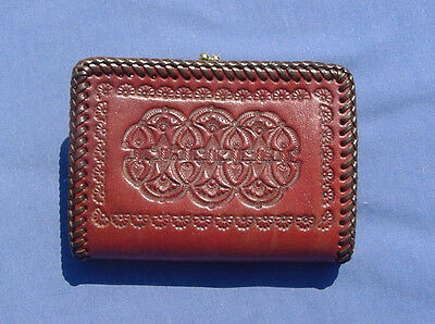 Vtg Hand Tooled Leather Wallet W/coin Purse & Card Holder