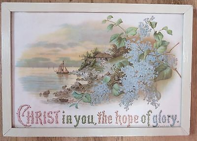 Christ in You The Hope of Glory; Col. 1.27; Vintage framed pictorial Bible text