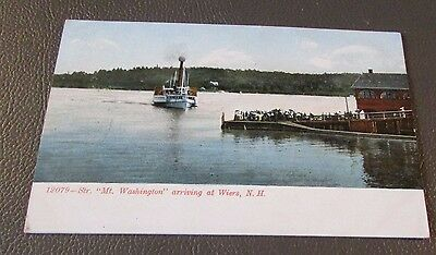 Old Postcard<<THE WEIRS, NEW HAMPSHIRE>{OLD MT. WASHINGTON STEAMER DOCKING}