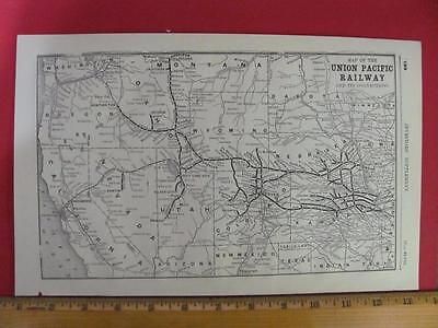 RARE 1889 UNION PACIFIC RAILROAD SYSTEM MAP CONNECTIONS in NB KS CO UT WY NV CA
