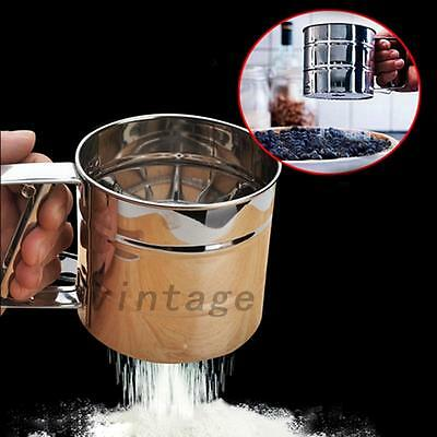 Stainless Steel Flour Sifter Shaker Sugar Cocoa Chocolate Sprinkler Sieve Home
