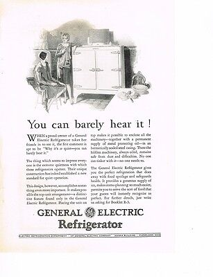 GE Refrigerator 'You can barely hear it' 1929 Ad
