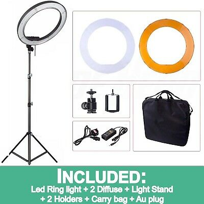 """Stock 19"""" Quality LED Dimmable Photo Video Ring Light Diffuser Kits F DSLR Phone"""