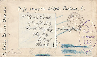 1941GB  WW 2 cover  On Active service, RAF Censor . twice Readdressed label