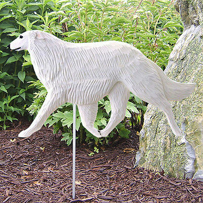Borzoi Outdoor Garden Sign Hand Painted Figure White