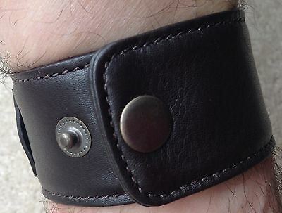 Dark brown  saddle leather wrist band martial arts bracelet cuff.