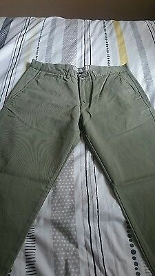Mens khaki chino trousers 32w 32l