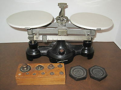 Vintage Balance Scale Cast Iron w/ Porcelain Top Plates Weights Included Antique