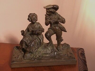 Old Vintage Antique French Musical Victorian Bronzed Iron Figure Group 1880 Fine