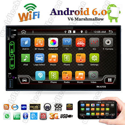 7'' Android 6.0 WiFi 2 DIN Car Radio Stereo MP3 Player GPS Mirror Link AM/FM/RDS