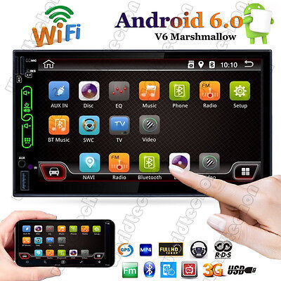 """Quad Core Android 6.0 WIFI 7"""" Double 2DIN Car Radio Stereo MP5 Player GPS AM/FM"""