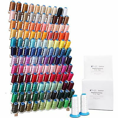 Machine Embroidery Starter Set: 120 Poly Colors Thread, Bobbin, Stabilizer, Rack