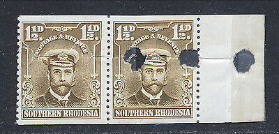 S.RHODESIA 1924 KGV WATERLOW PROOFS 1d1/2  PAIR IMPERFORATE / PERFS VARIETY.A151